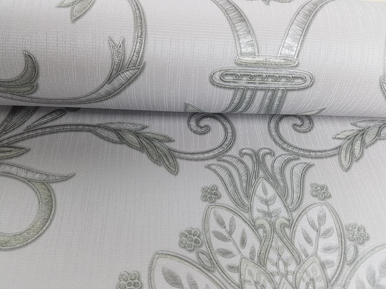 Isabella Damask Ivory Gold Silver Wallpaper Floral Glitter