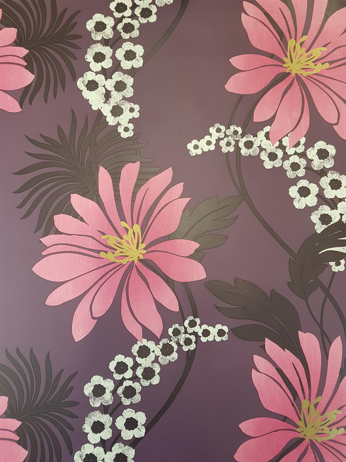 Details About Purple Plum Floral Wallpaper Pink White Flowers Gold Metallic Feature Holden
