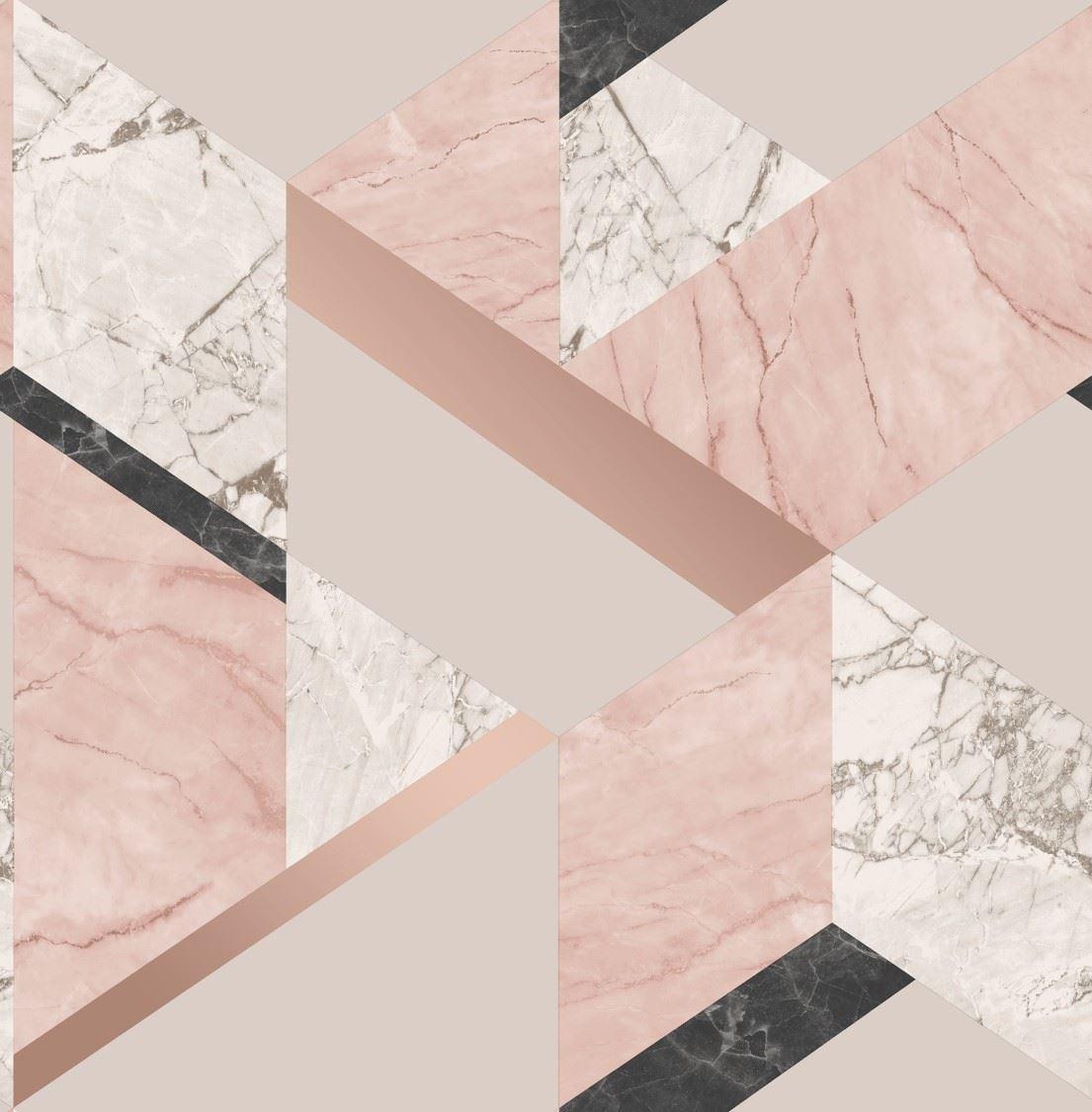Fine Decor Pink Metallic Rose Gold Marble Effect Geometric Wallpaper Luxury 5011419423033 Ebay