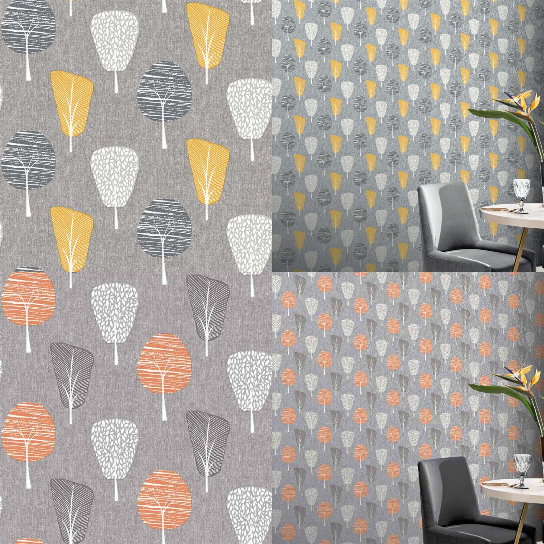 Retro Tree Grey Orange Yellow Wallpaper Forest Floral Botanical