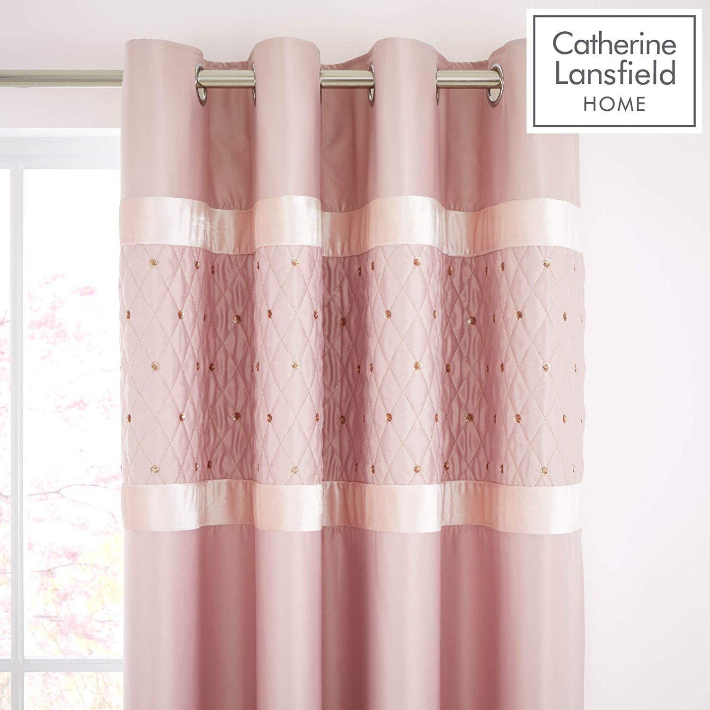 Catherine-Lansfield-lentejuelas-Cluster-Blush-Conjunto-de-Edredon-Reversible-Ropa-De-Cama-Cortina miniatura 12