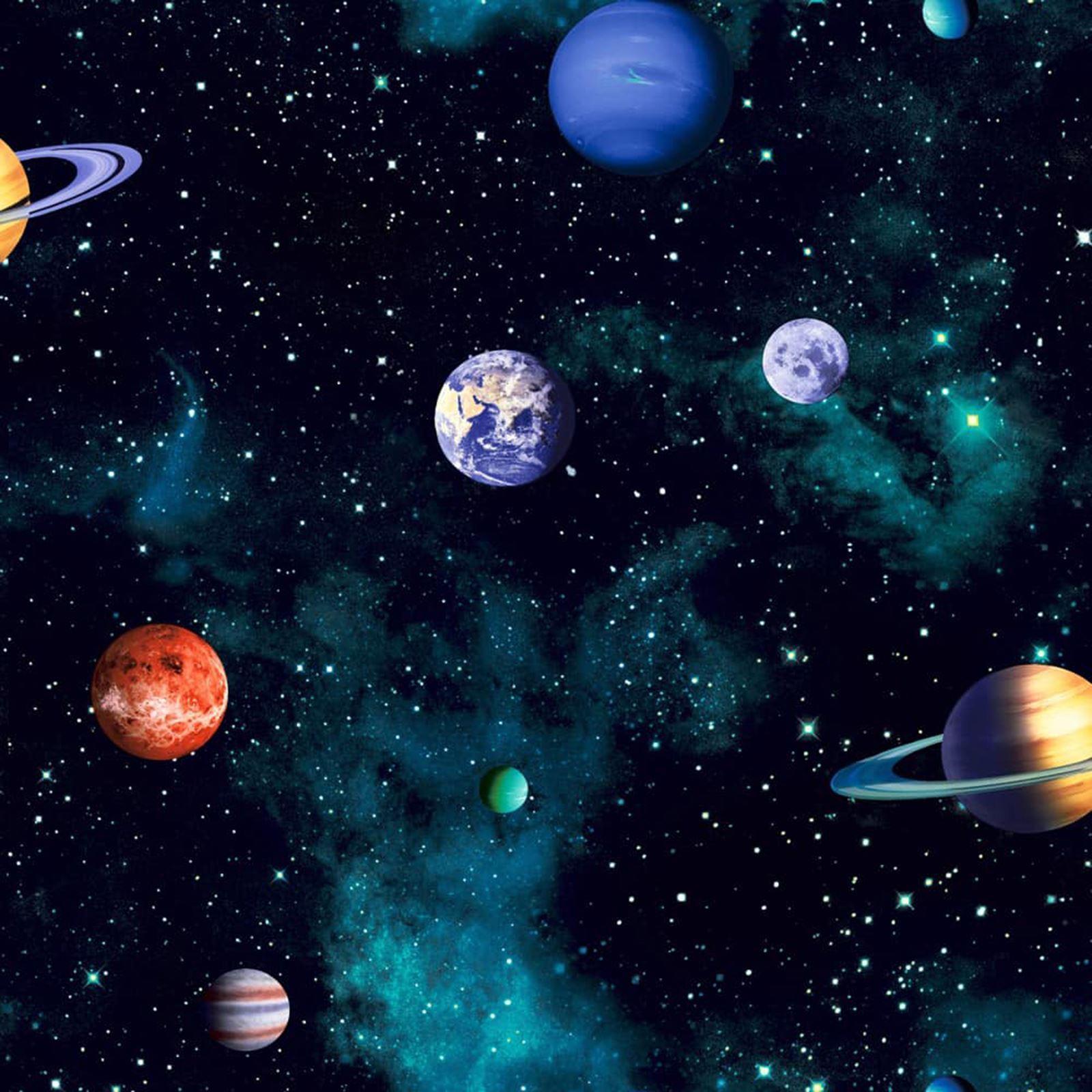 Detalles De Cosmos Papel Pintado Espacio Galaxia Estrellas Planetas Carbón Tierra Dormitorio Arthouse Ver Título Original