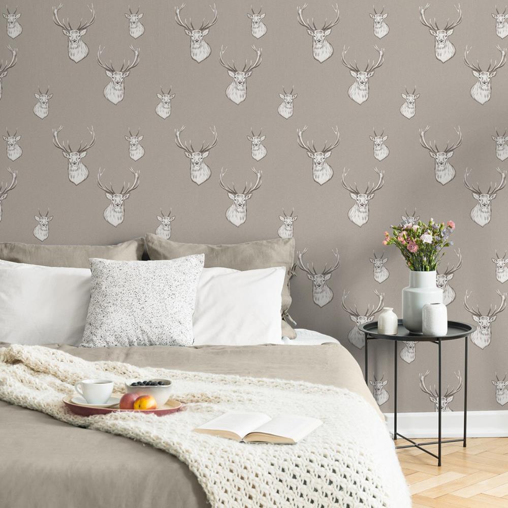 Catherine-Lansfield-Duvet-Set-Highland-Stag-Reversible-Check-Bedding-Mushroom thumbnail 27