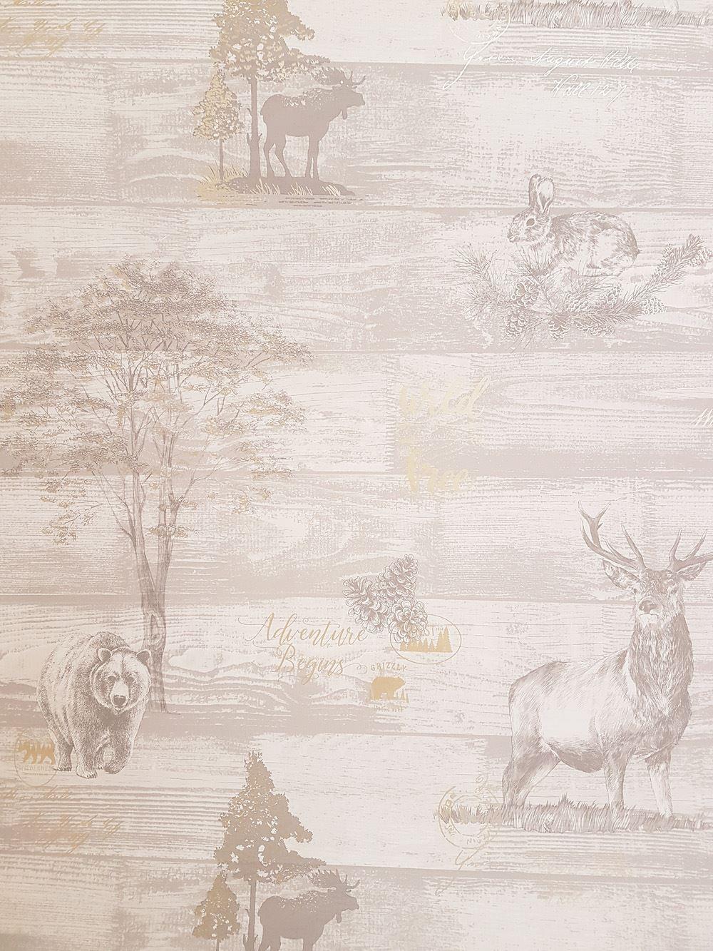 Animal Print Wallpaper Stag Bear Oakley Grey Gold Metallic Woodland