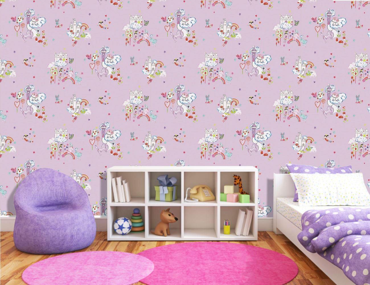 Girls-Unicorn-Wallpaper-Children-039-s-Pink-White-Glitter-Rainbow-Butterflies-Floral thumbnail 13