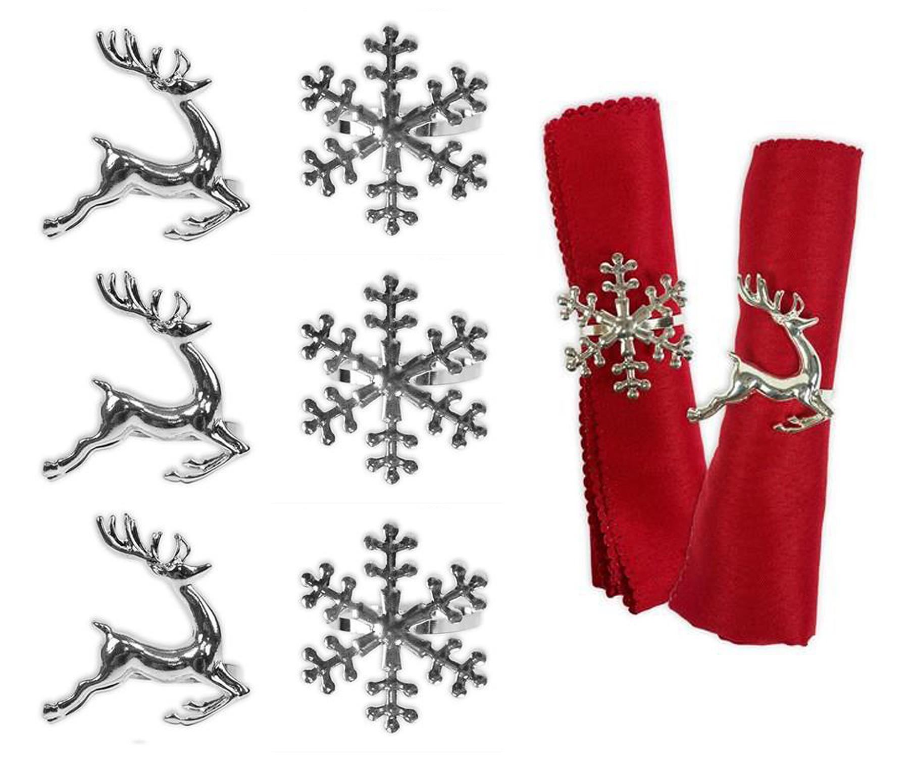 Set Of 6 Napkin Rings Snowflake Reindeer Xmas Silver Metal Elegant Table Set 5015302145170 Ebay