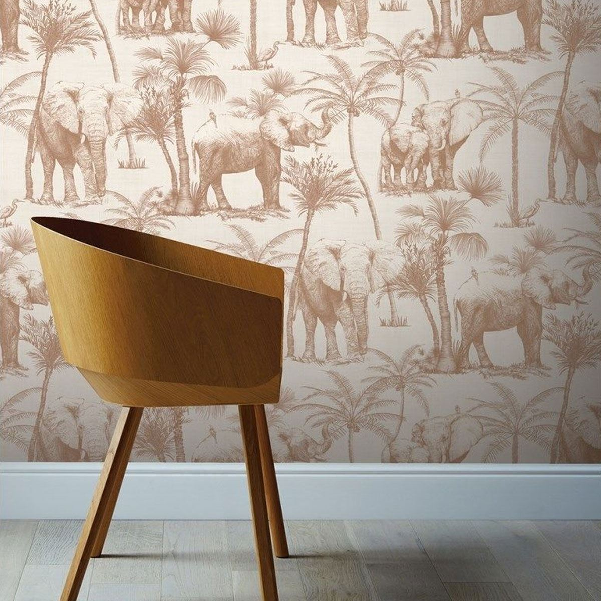 Elephant-Grove-Wallpaper-Jungle-Tropical-Palm-Tree-Bird-Paste-The-Wall-Arthouse thumbnail 18