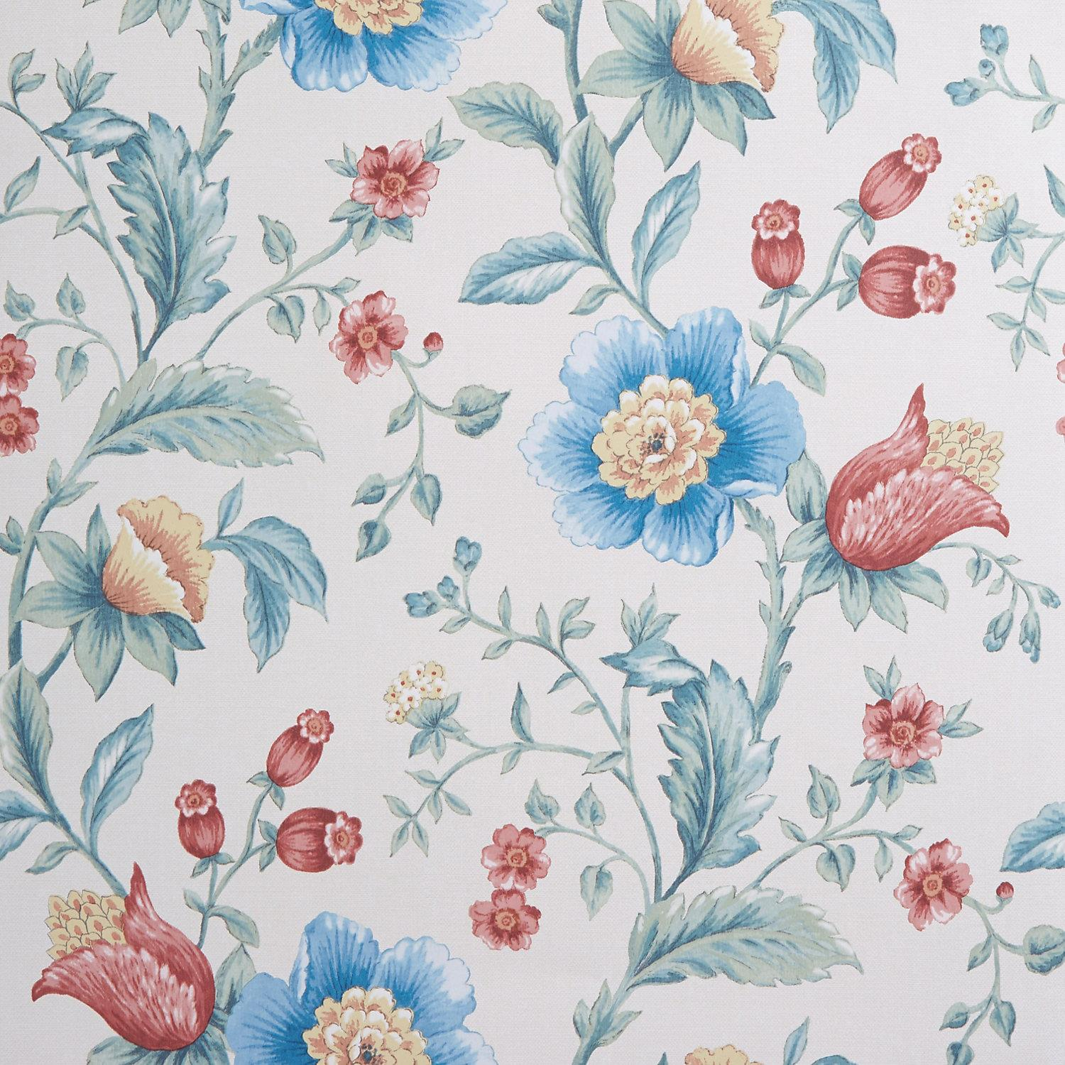 Vintage Floral Wallpaper Painterly Watercolour Effect Blue Green