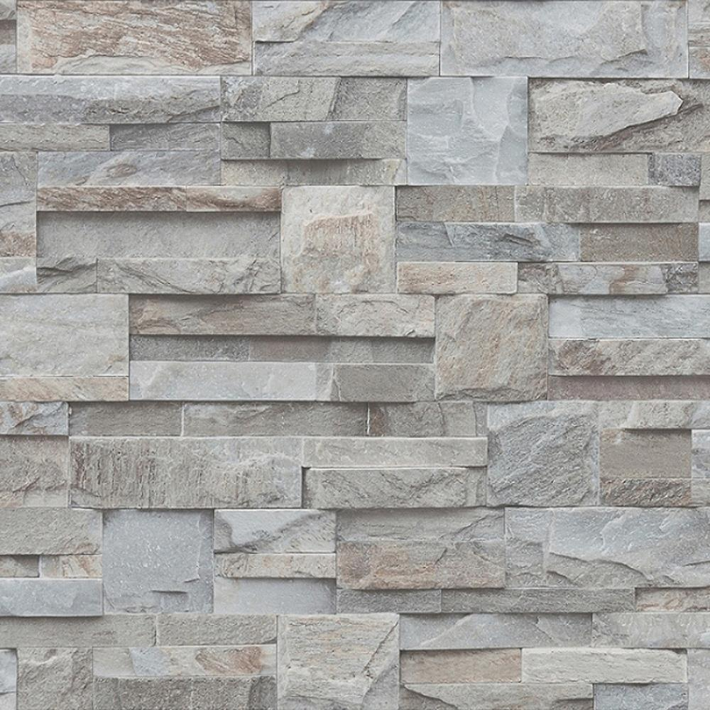 Details About Muriva 3d Effect Natural Slate Grey Wallpaper Realistic Brick Stone Optics