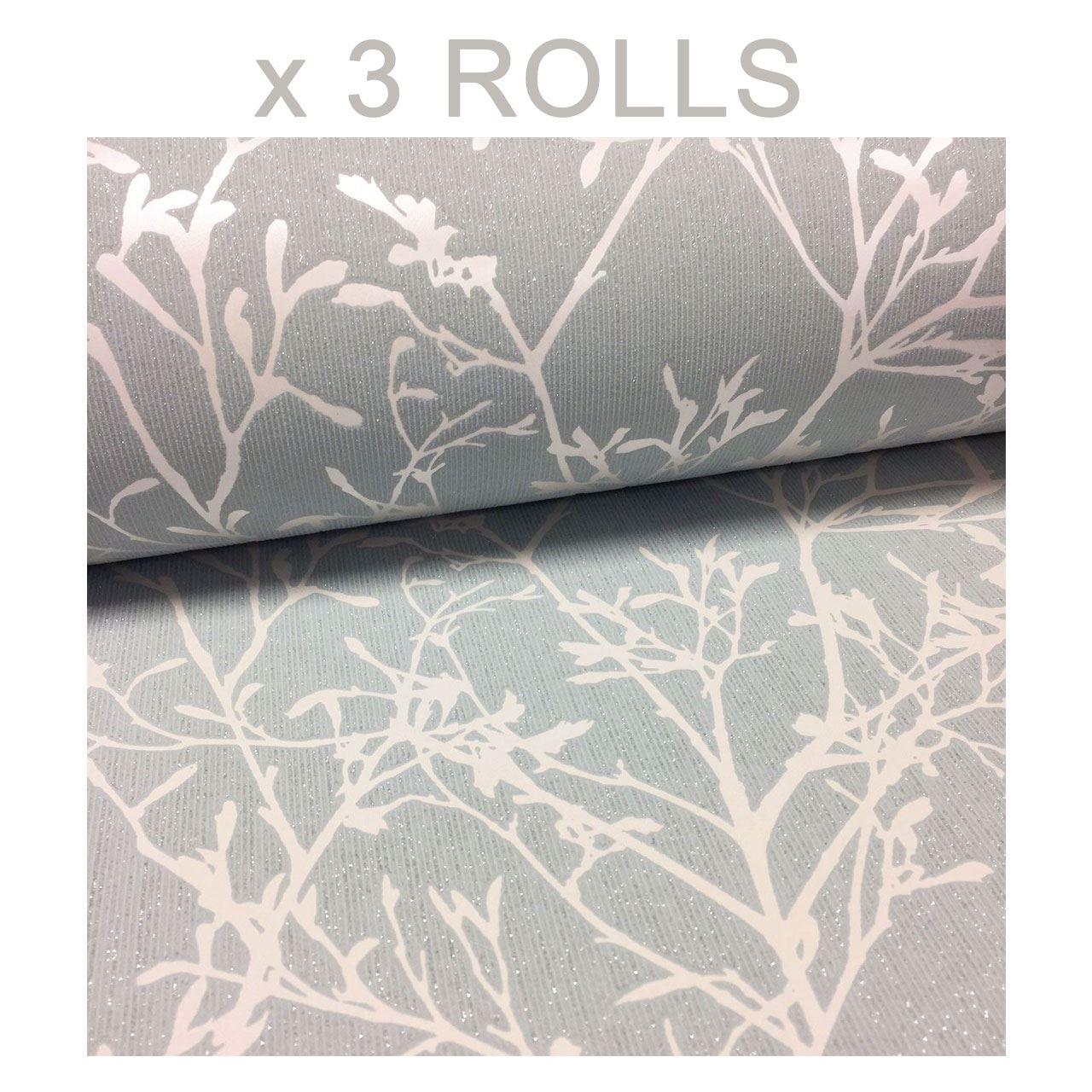 Tranquillity Wallpaper Fine Décor Glitter Trees Embossed Vinyl Duck Egg Silver