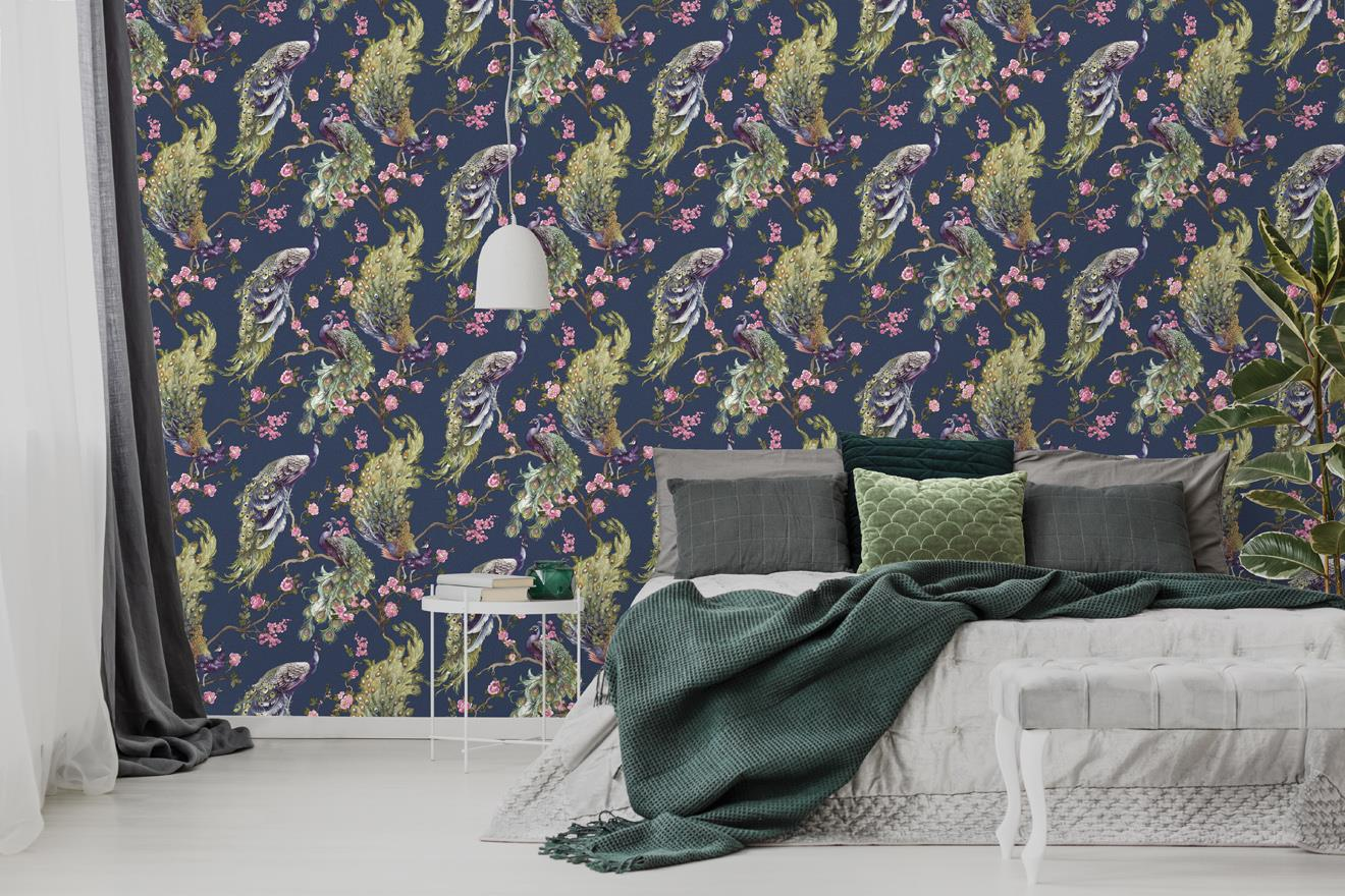 Peacock-Glitter-Wallpaper-Leaf-Floral-Vinyl-Animal-Print-Blue-Pink-Green-Grey thumbnail 10