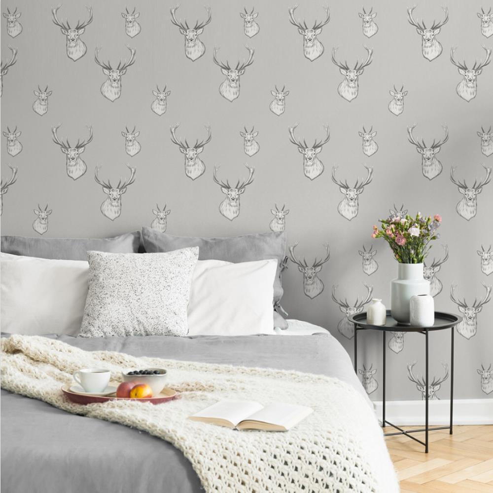 Catherine-Lansfield-Duvet-Set-Highland-Stag-Reversible-Check-Bedding-Grey thumbnail 30
