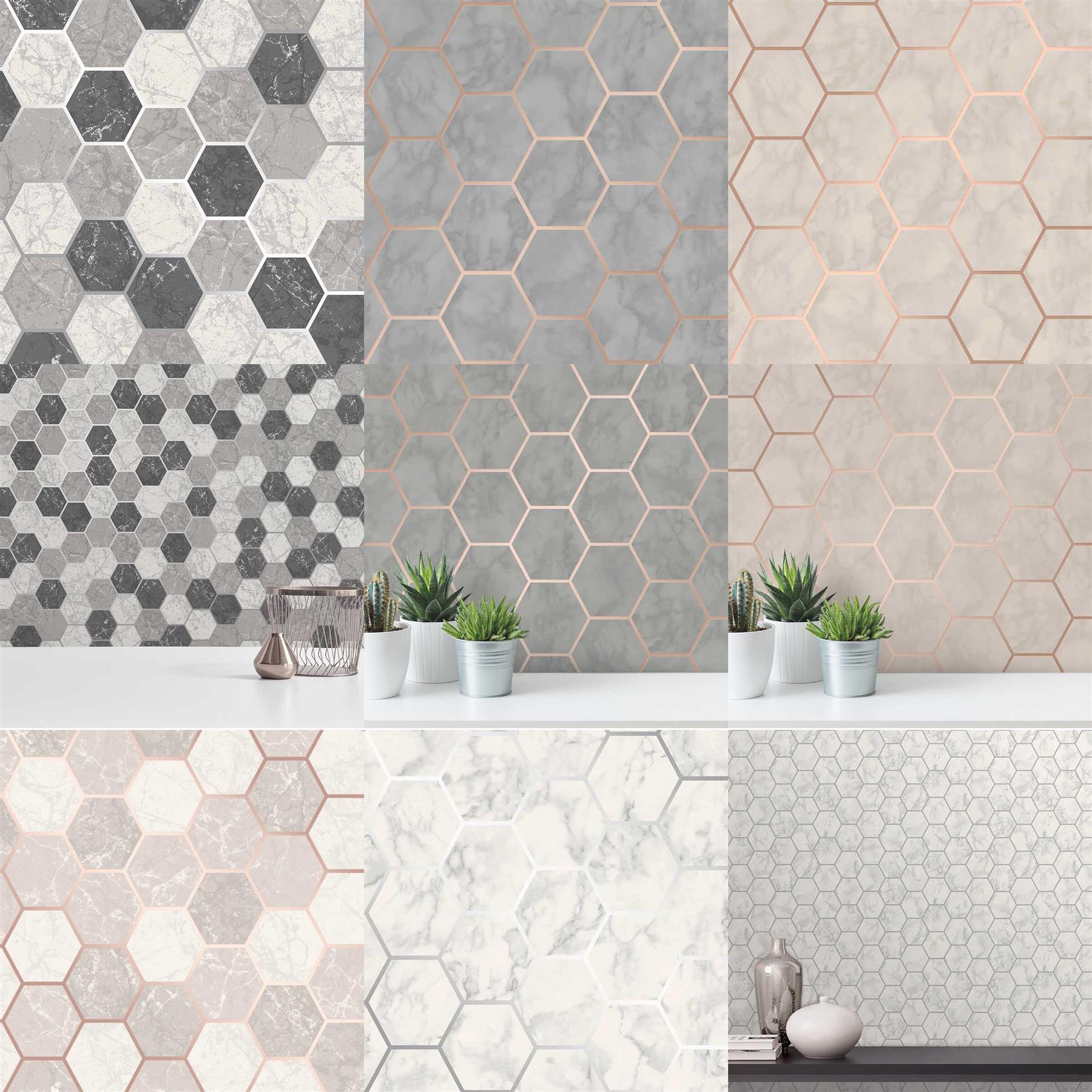 Hexagon Geometric Marble Wallpaper Kitchen Silver Rose Gold