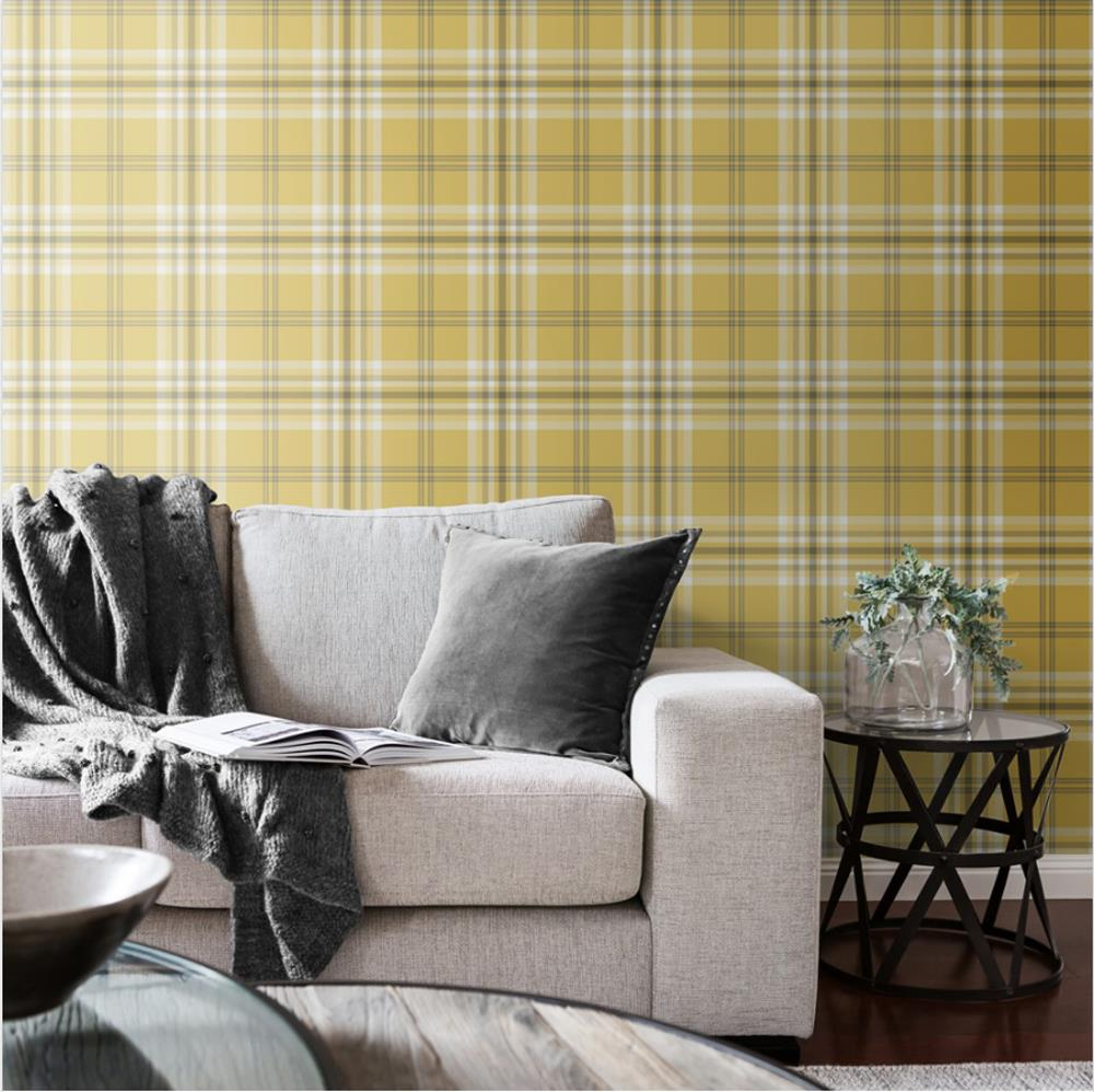 Yellow-Grey-Charcoal-Taupe-Check-Wallpaper-Country-Tartan-Plaid-Muriva-Kelso thumbnail 12