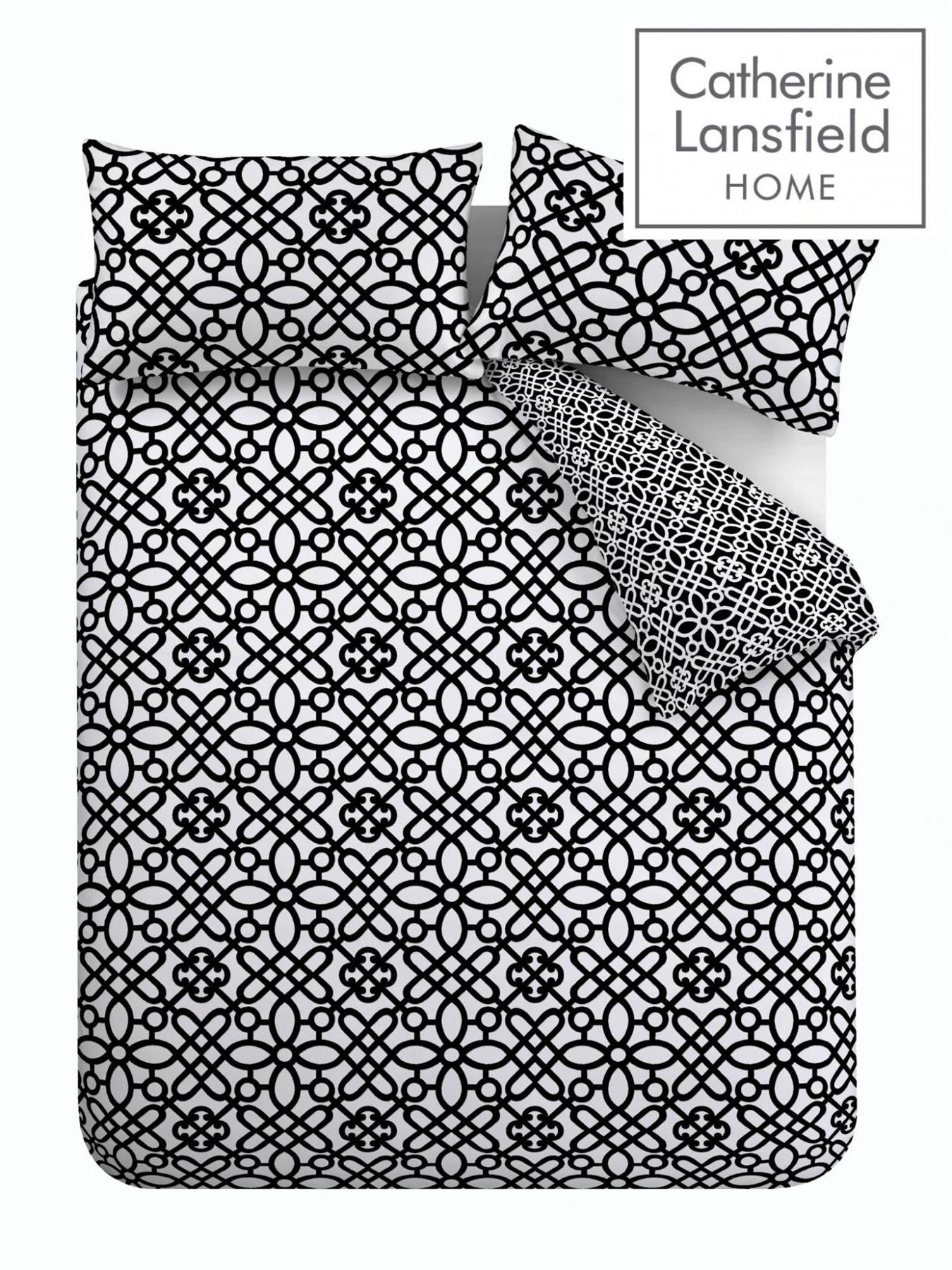 Catherine-Lansfield-Medina-Enrejado-Funda-De-Almohada-Cama-Conjunto-de-Edredon-Negro-Blanco-Casa miniatura 6