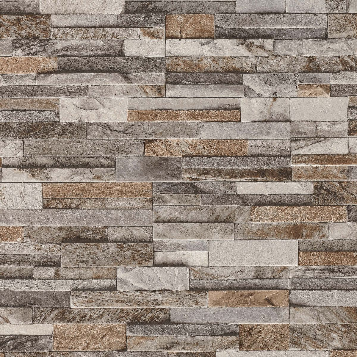 3D Brick Effect Wallpaper Slate Stone Wall Textured Brown ...