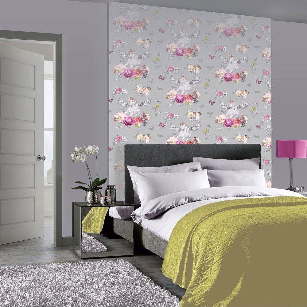 Girls-Unicorn-Wallpaper-Children-039-s-Pink-White-Glitter-Rainbow-Butterflies-Floral thumbnail 11