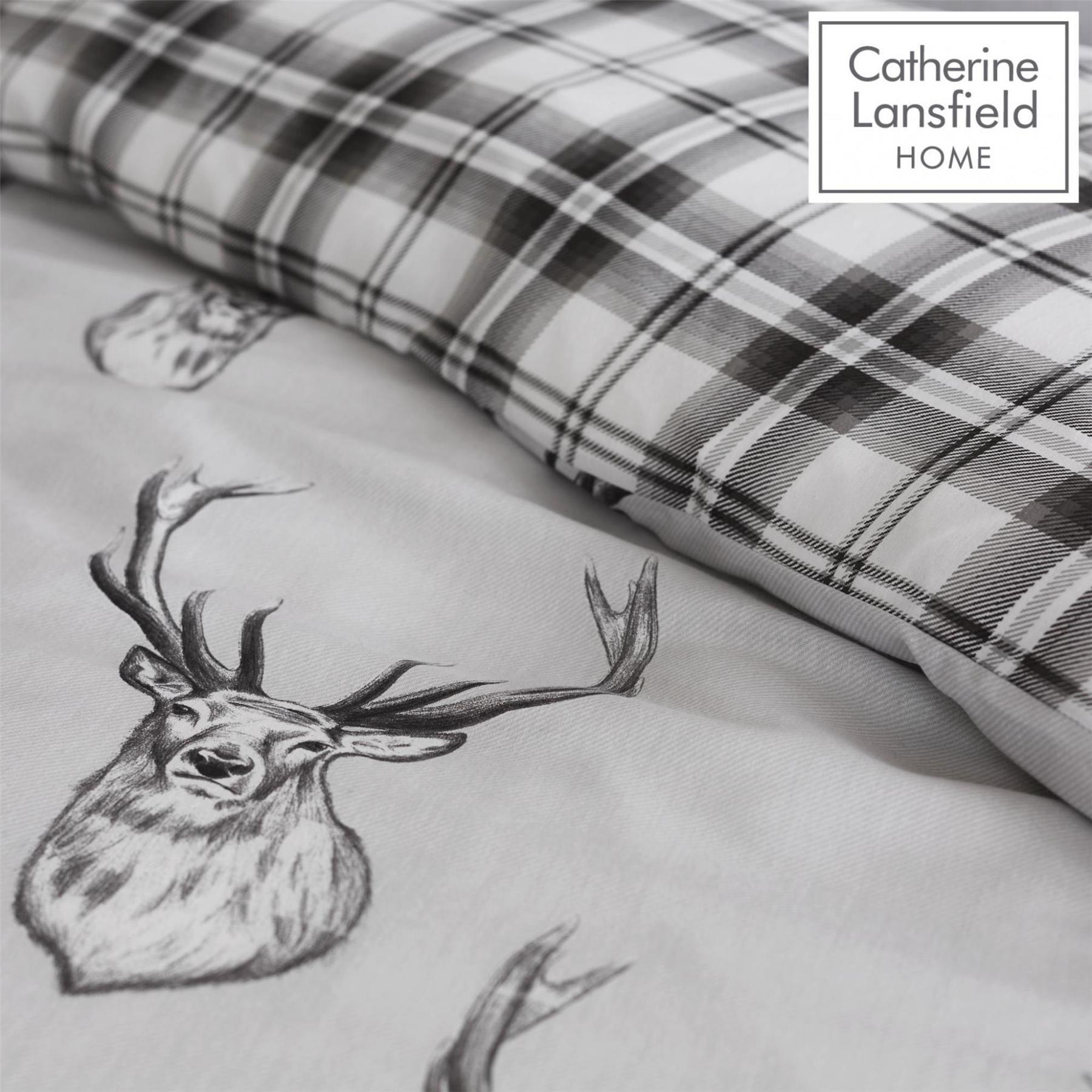 Catherine-Lansfield-Duvet-Set-Highland-Stag-Reversible-Check-Bedding-Grey thumbnail 7