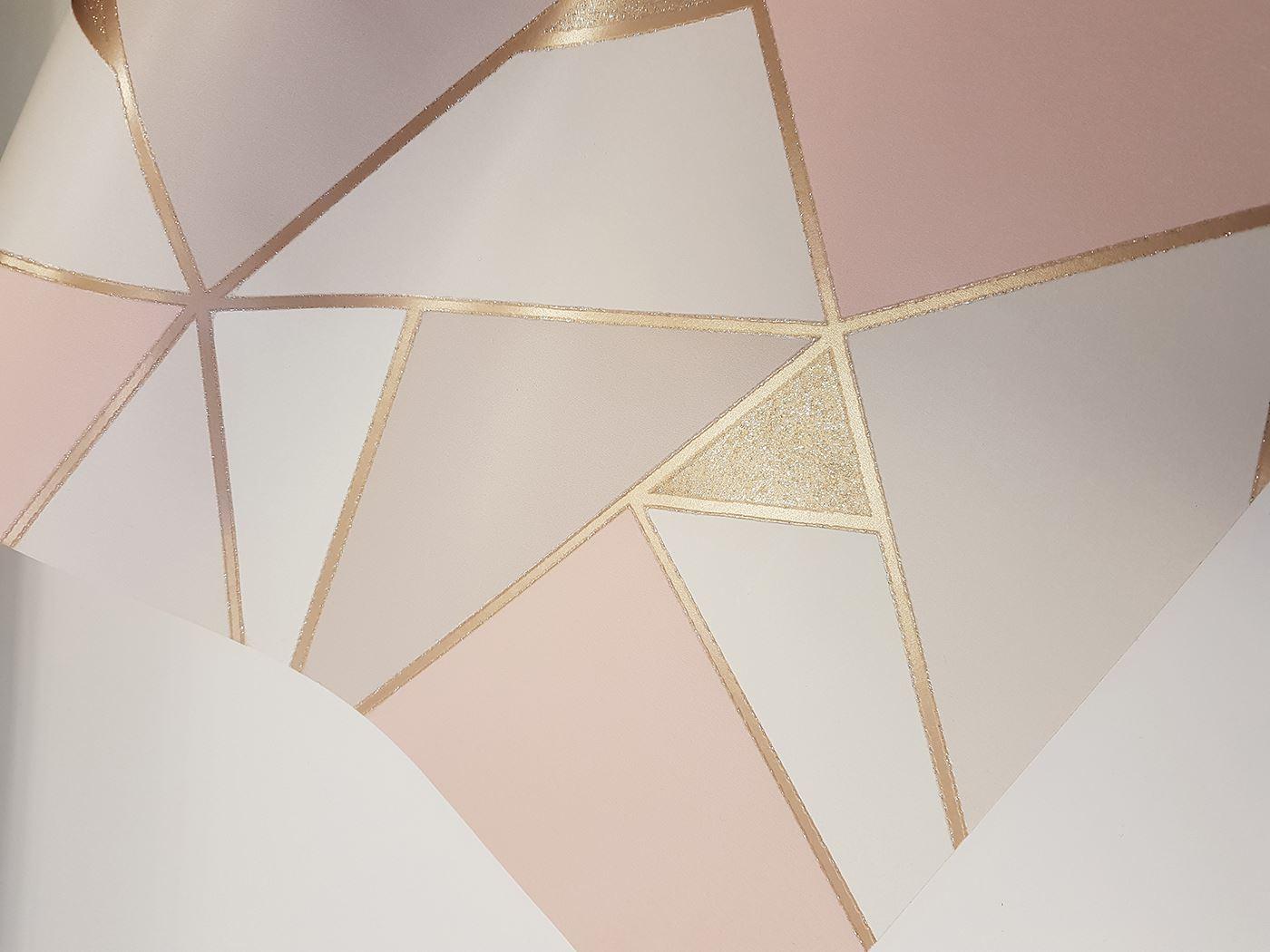 Apex Rose Gold Trance Geometric Triangle Wallpaper Glitter ...