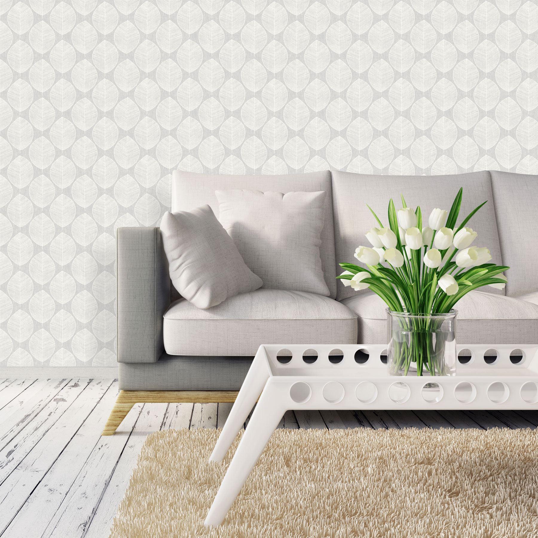 Scandi Leaf Wallpaper Flower Floral Geometric Motif Modern