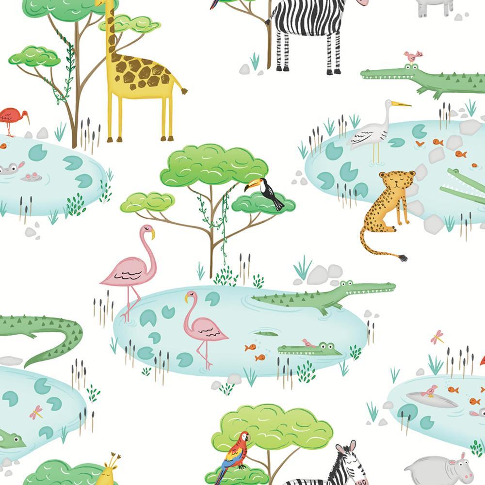 Lemurs Collage Tropical Parrots Zebra Geo Holden Decor Wonderland Wallpaper
