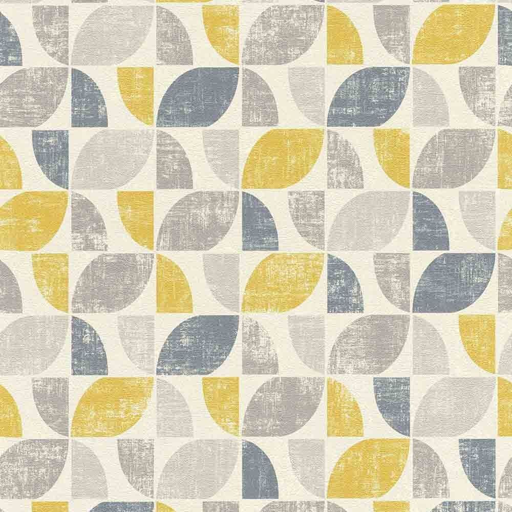 Details About Geometric Vintage White Yellow Blue Wallpaper Paste Wall Textured Vinyl Graphic