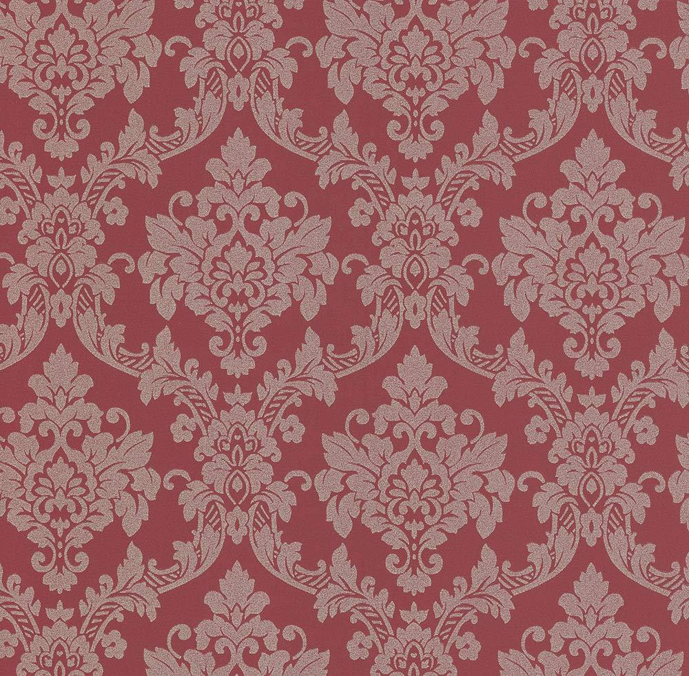 Details About Red Baroque Damask Glitter Wallpaper Sparkle Shimmer Traditional Paste Wall P S