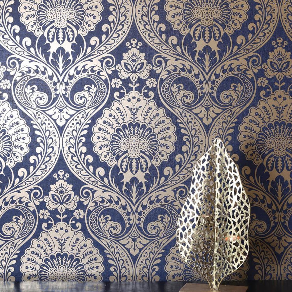 Damask wallpaper blue pink grey gold silver metallic shimmer textured arthouse ebay - Navy gold wallpaper ...