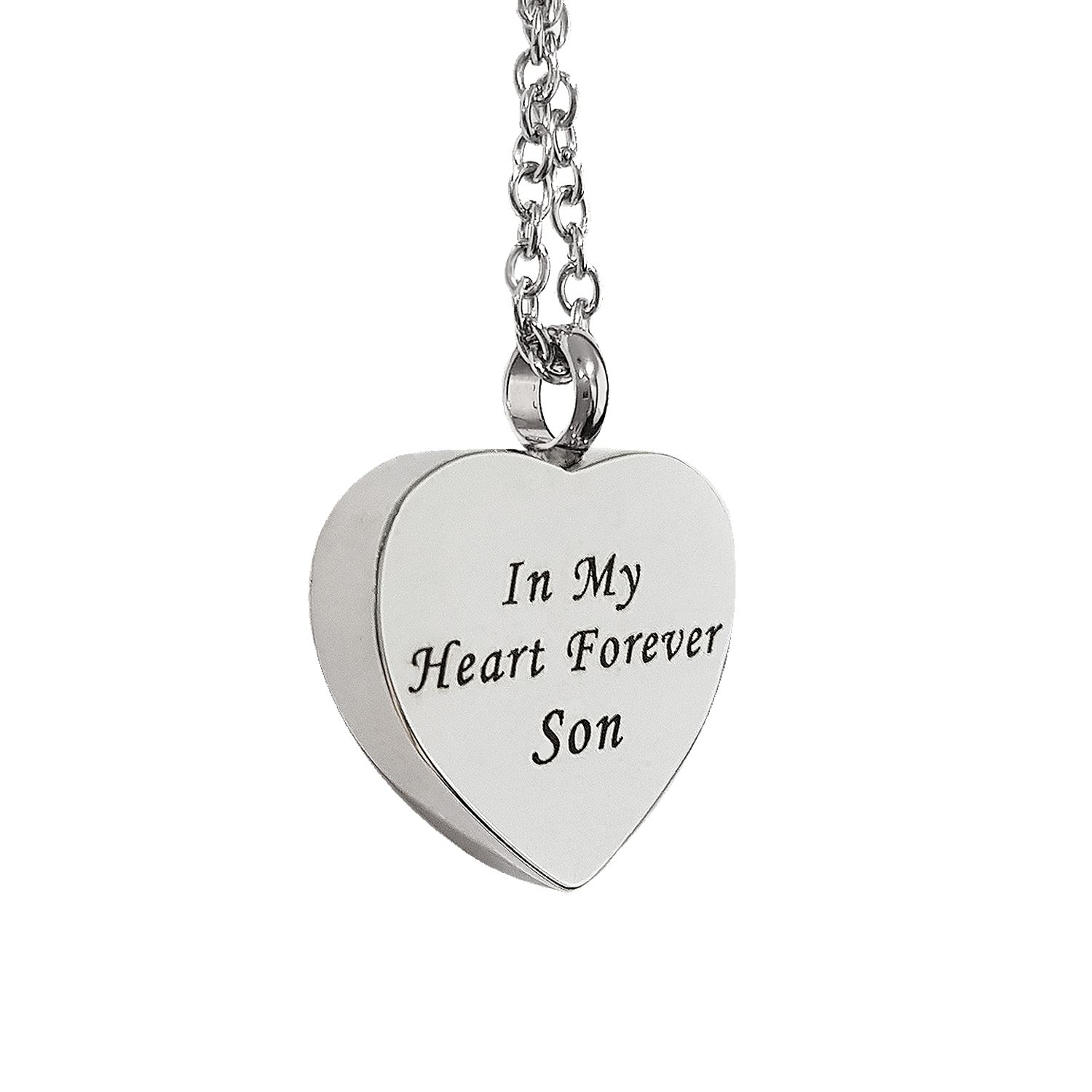 Stainless Steel Urn Necklaces for Ashes,No Longer by My Side Forever in My Heart Inspirational Keepsake Cremation Jewelry