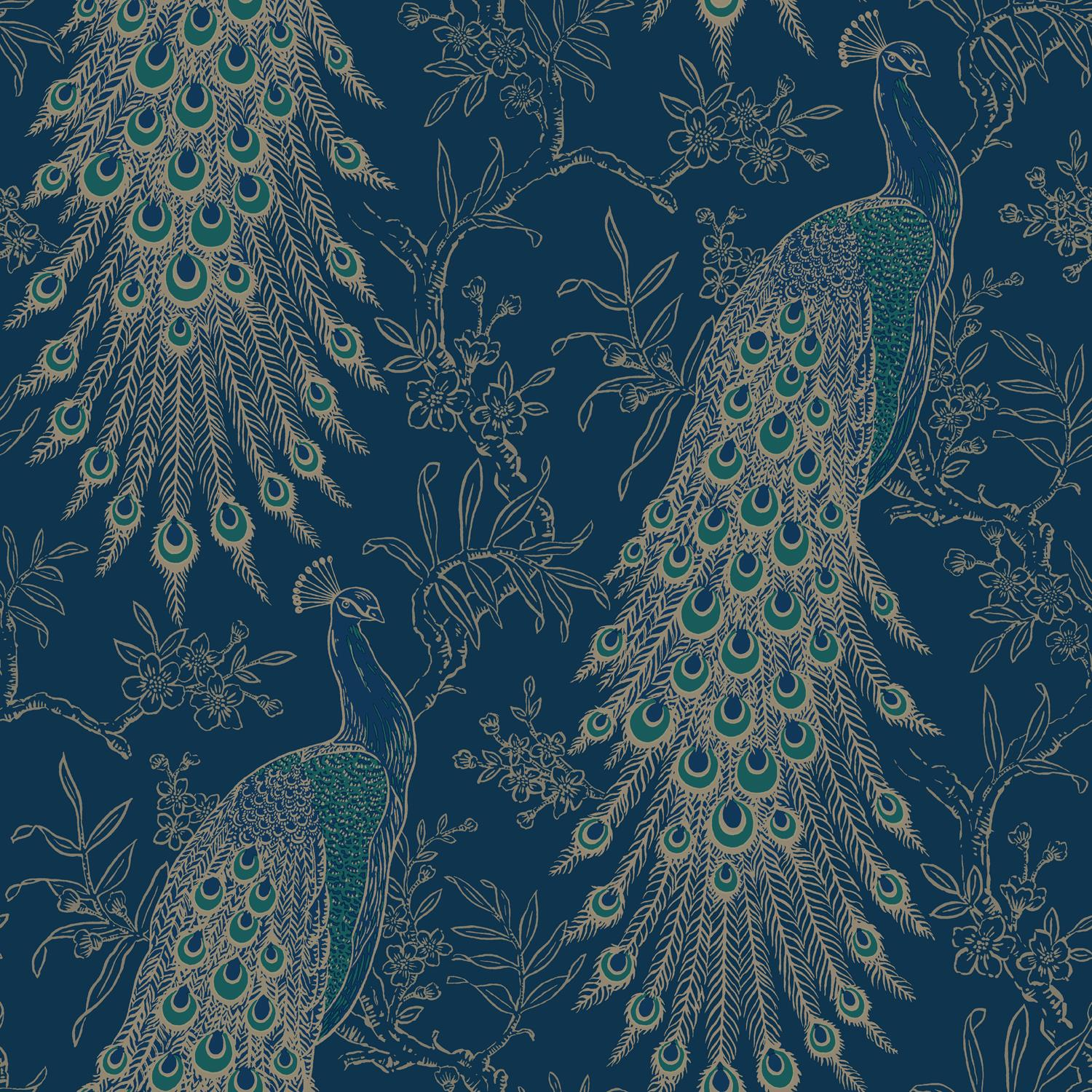 Peacock Wallpaper Navy Blue Gold Metallic Feather Floral Vintage