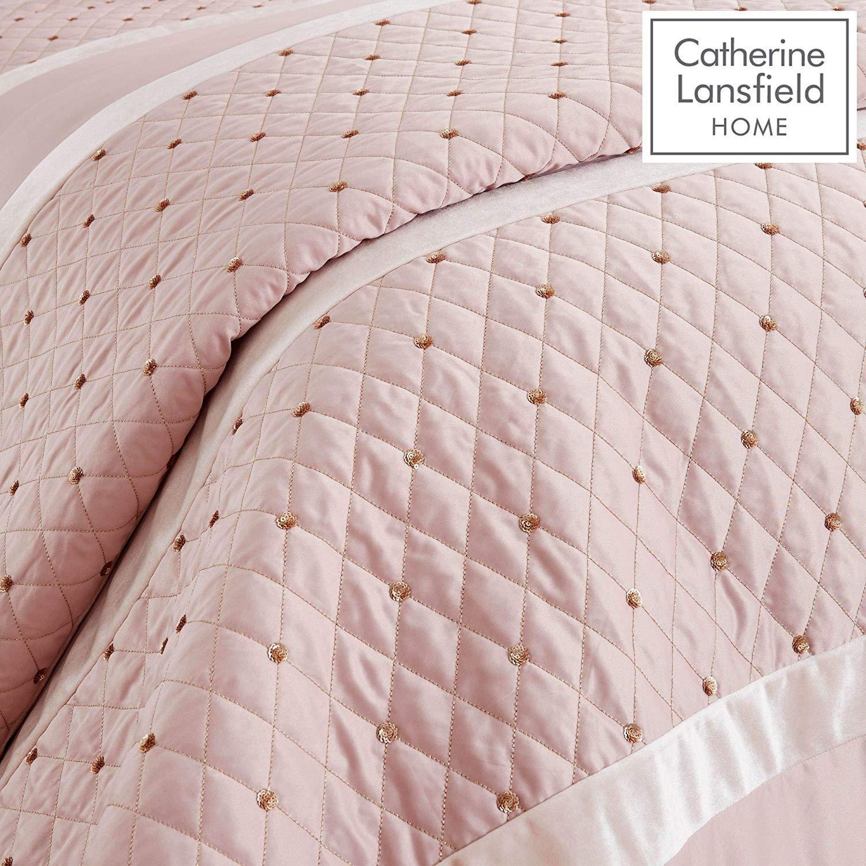 Catherine-Lansfield-lentejuelas-Cluster-Blush-Conjunto-de-Edredon-Reversible-Ropa-De-Cama-Cortina miniatura 3