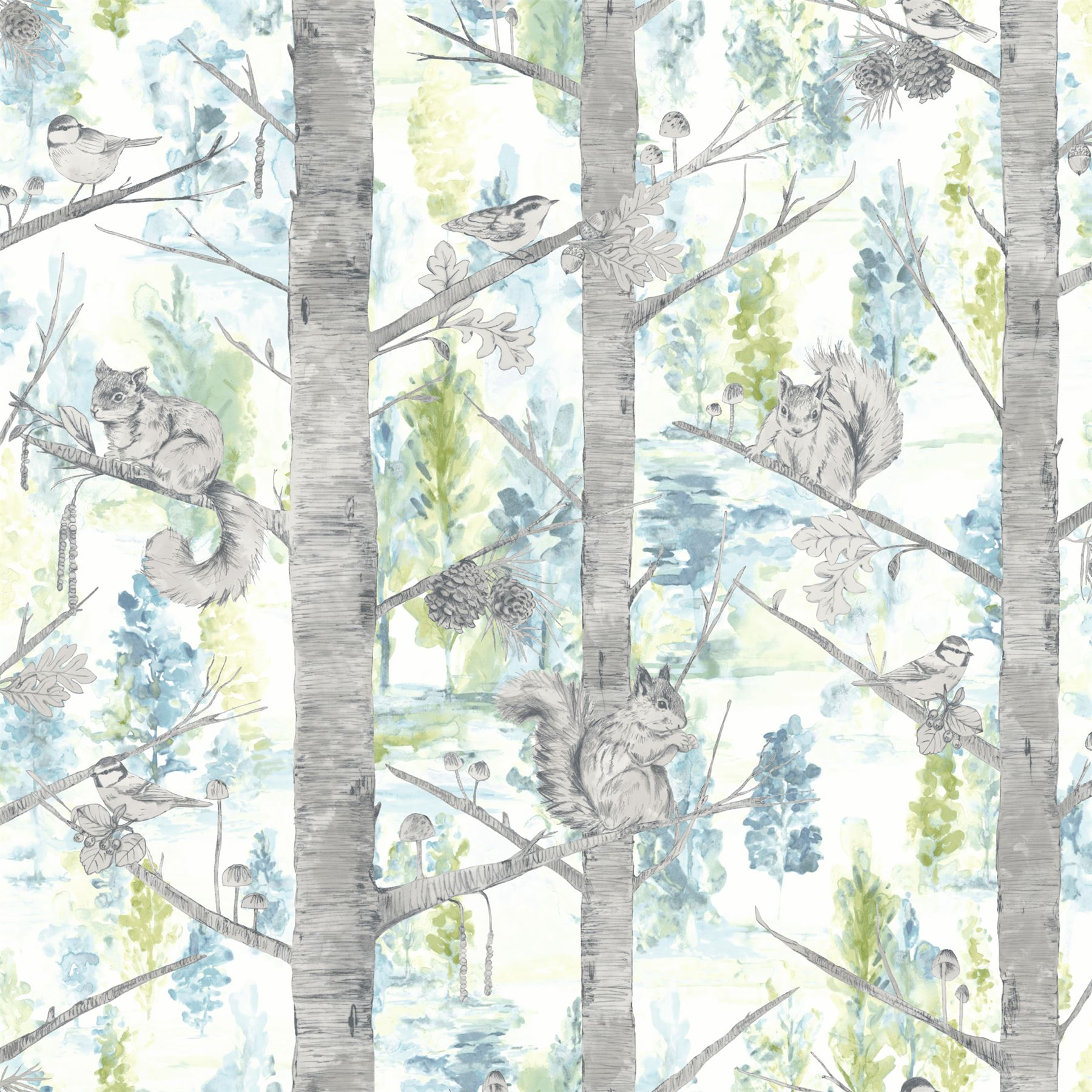 Details About Squirrels Trees Forest Wallpaper Birds Woodland Teal Silver Metallic Holden