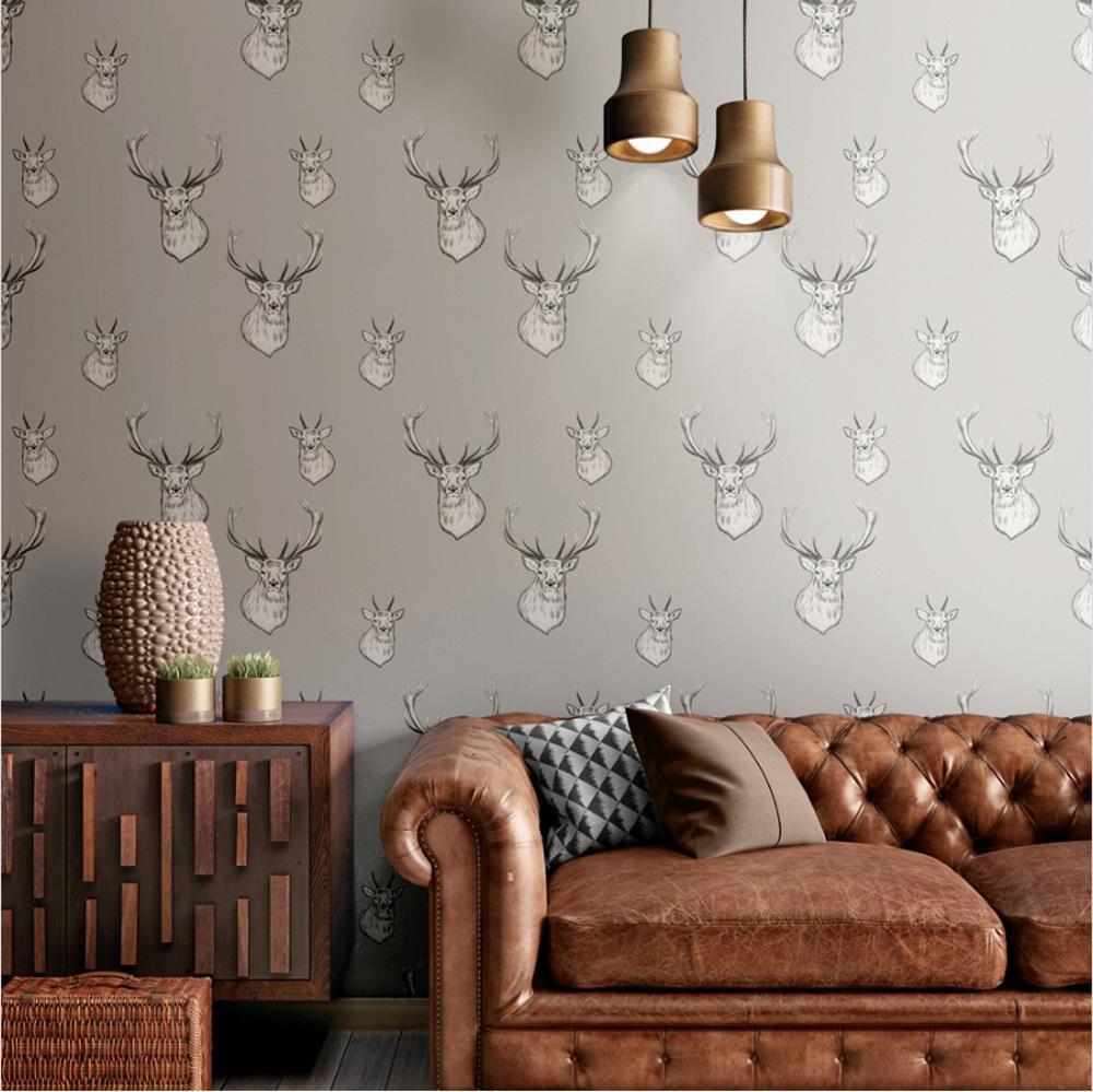 Catherine-Lansfield-Duvet-Set-Highland-Stag-Reversible-Check-Bedding-Grey thumbnail 32