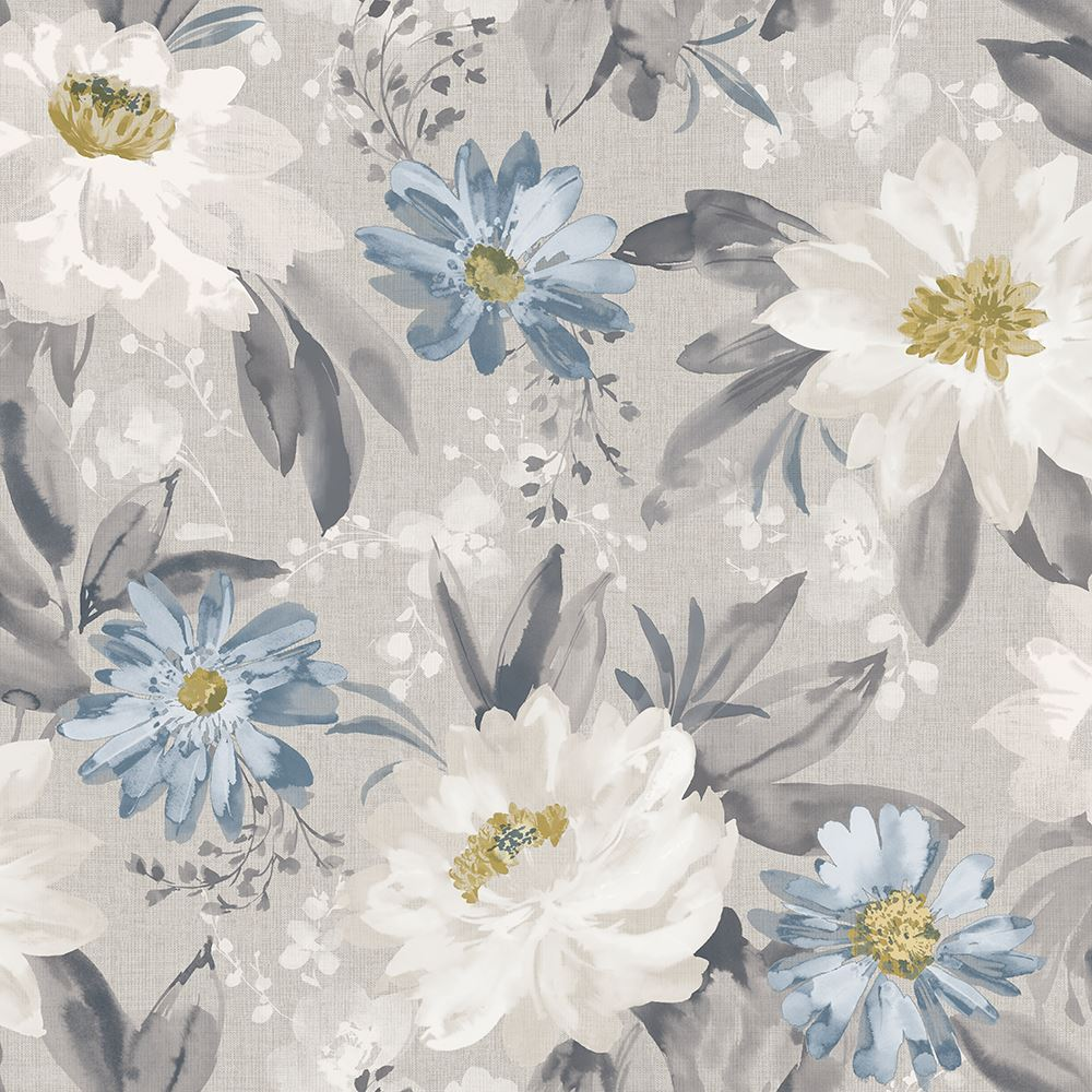 Arthouse Painted Dahlia Grey Blue Floral Wallpaper Flowers Country