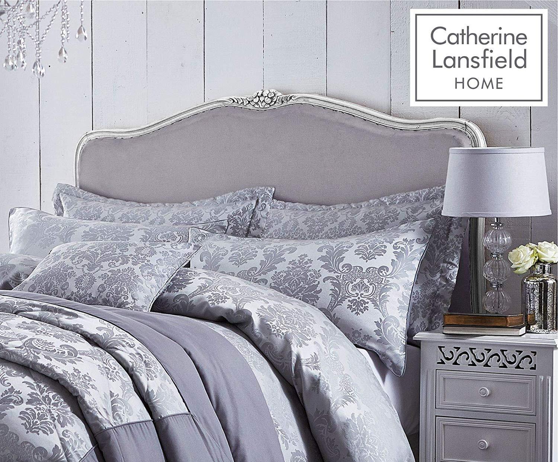 thumbnail 13 - Catherine Lansfield Damask Jacquard Silver Duvet Set Reversible Bedding Curtain