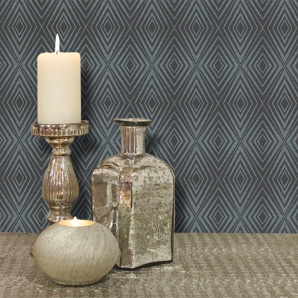 P+S Diamond Black Silver Geometric Glitter Wallpaper Shimmer Sparkle Paste Wall