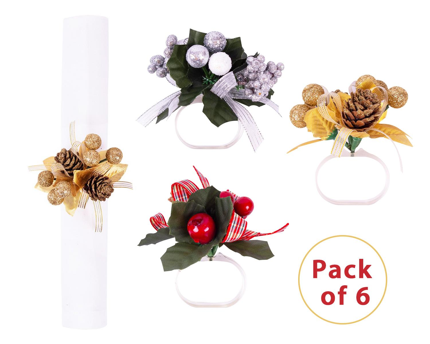 6x Napkin Rings Set Floral Berry Forest Leaves Christmas Festive Silver Red Gold Ebay