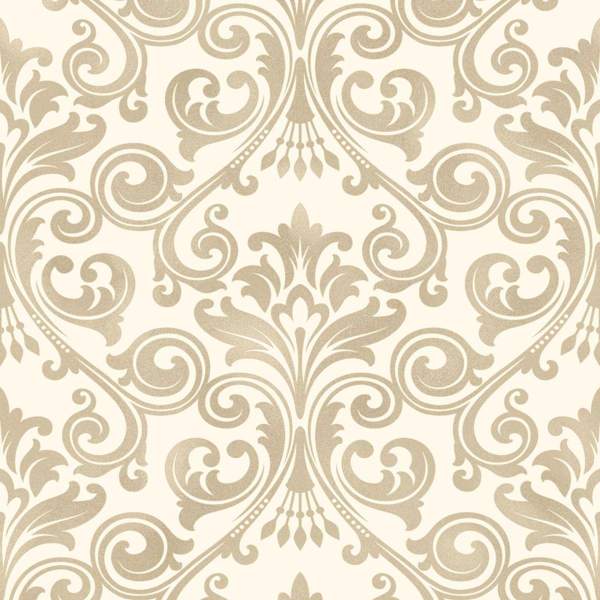 Damask Glitter Wallpaper Cream Gold Vinyl Luxury Textured Fine
