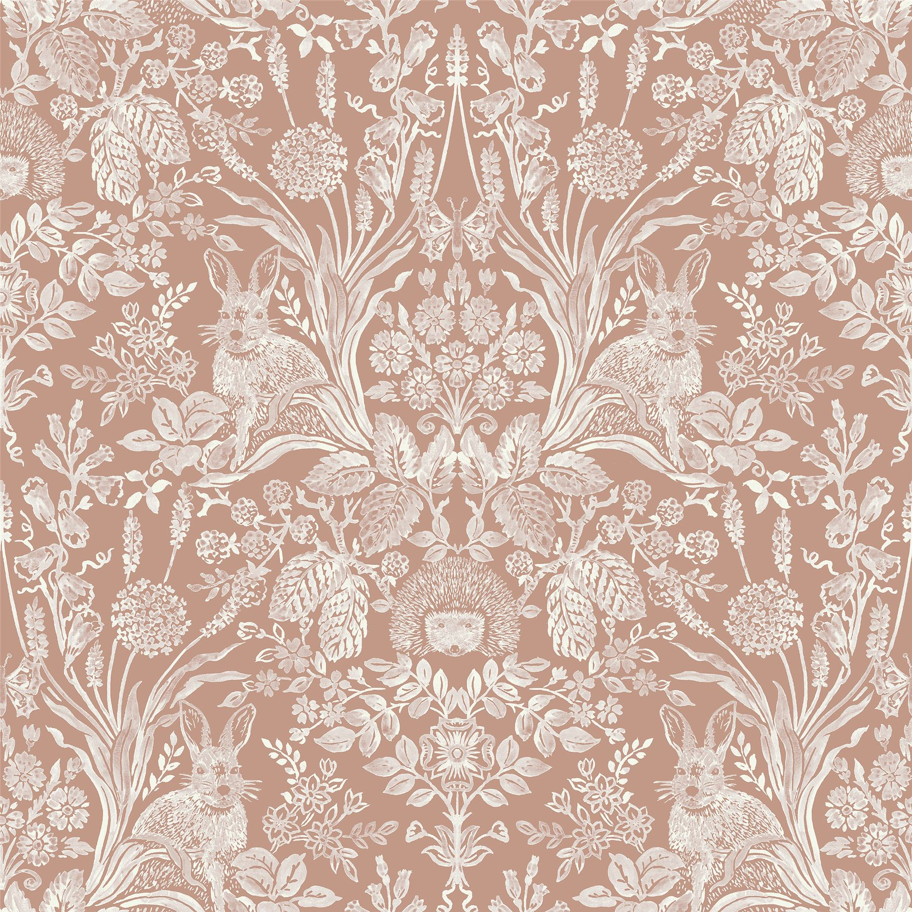 Details About Floral Animal Print Wallpaper Flowers Hedgehogs Rabbits Butterflies Rose Gold