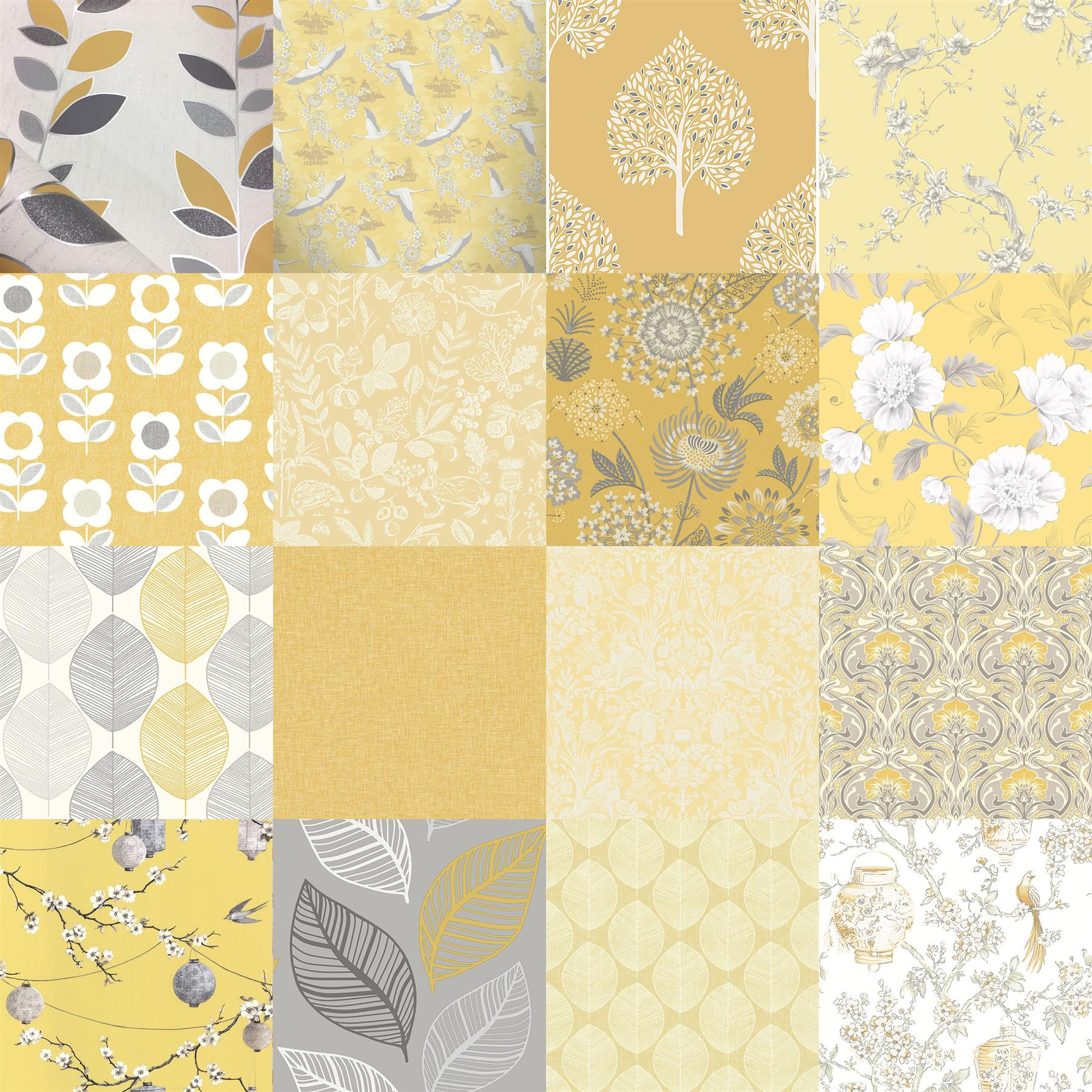 Yellow Floral Wallpaper Grey Mustard Leaf Birds Animal Print