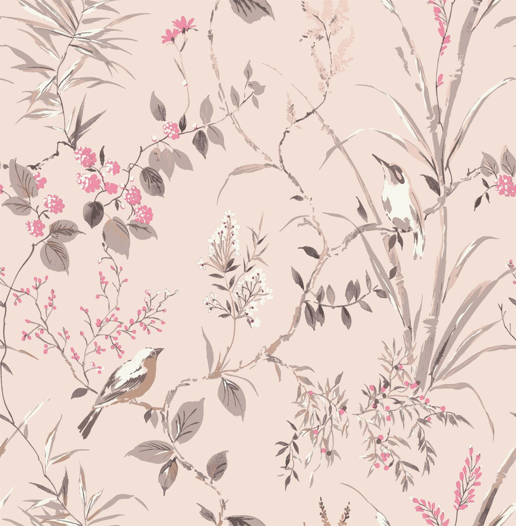 Floral Birds Wallpaper Blush Fuchsia Metallic Flower Shimmer Fine