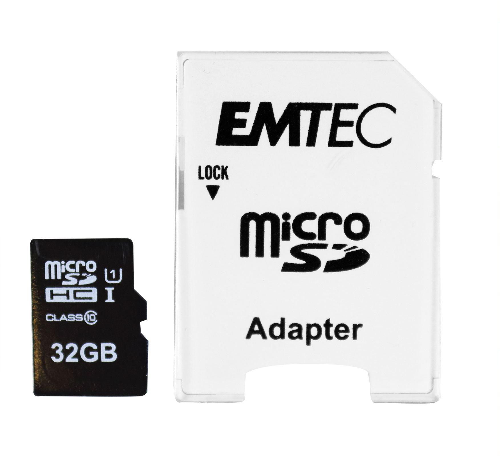 64 GB Micro SDHC Scheda di memoria con SD-Adattatore EMTEC Classic Class 10 Full HD