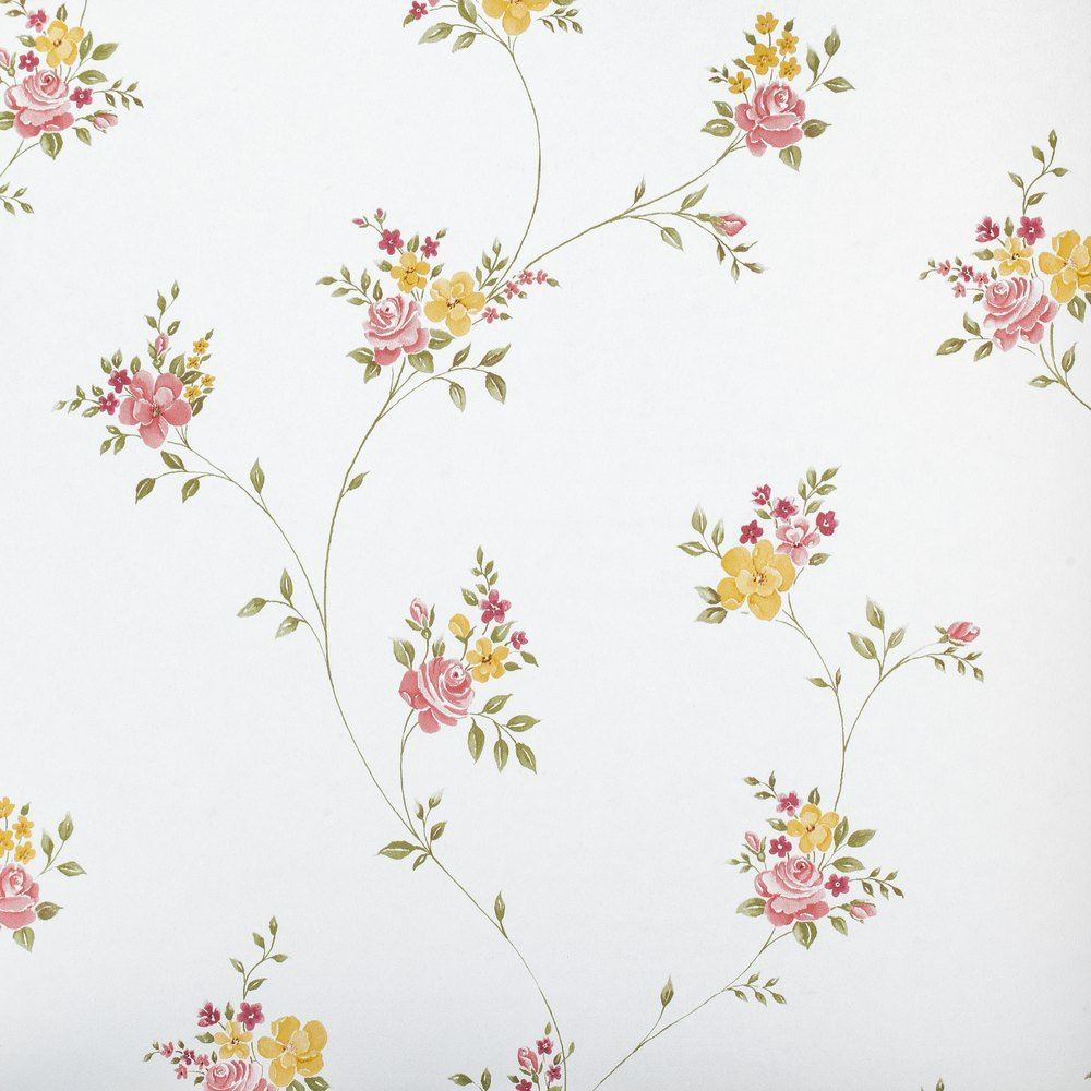 Floral Trail Wallpaper Flowers Pink Green Yellow Vintage Retro