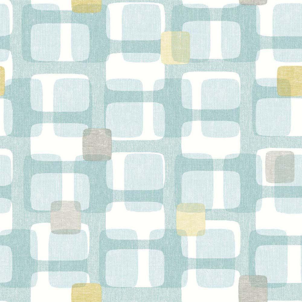 Arthouse Teal Grey Yellow Retro Block Pattern Wallpaper