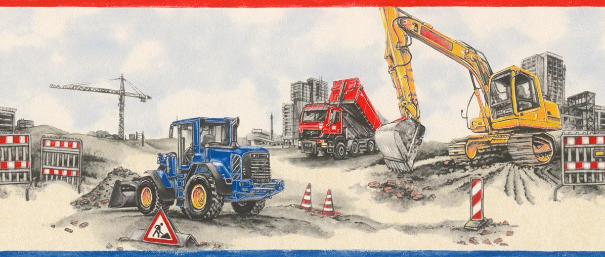 Detalles De Sitio De Construcción De Rasch Wallpaper Frontera Camiones Tractores Azul Rojo Beige Gris Ver Título Original