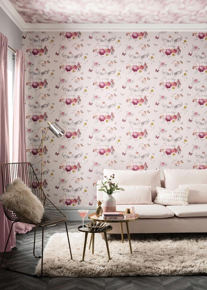 Girls-Unicorn-Wallpaper-Children-039-s-Pink-White-Glitter-Rainbow-Butterflies-Floral thumbnail 20