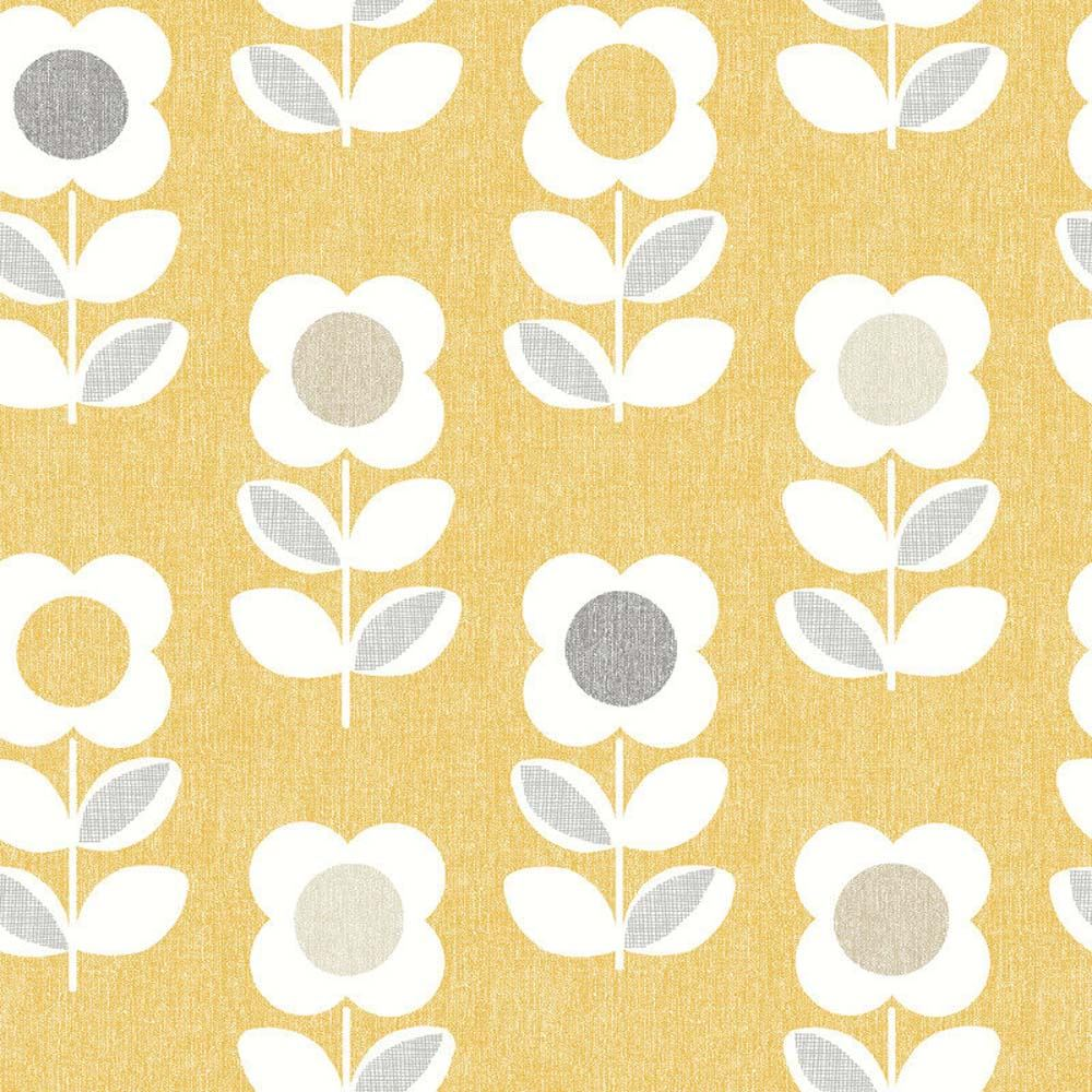 Retro Floral Wallpaper Arthouse Bright Flower Yellow Feature