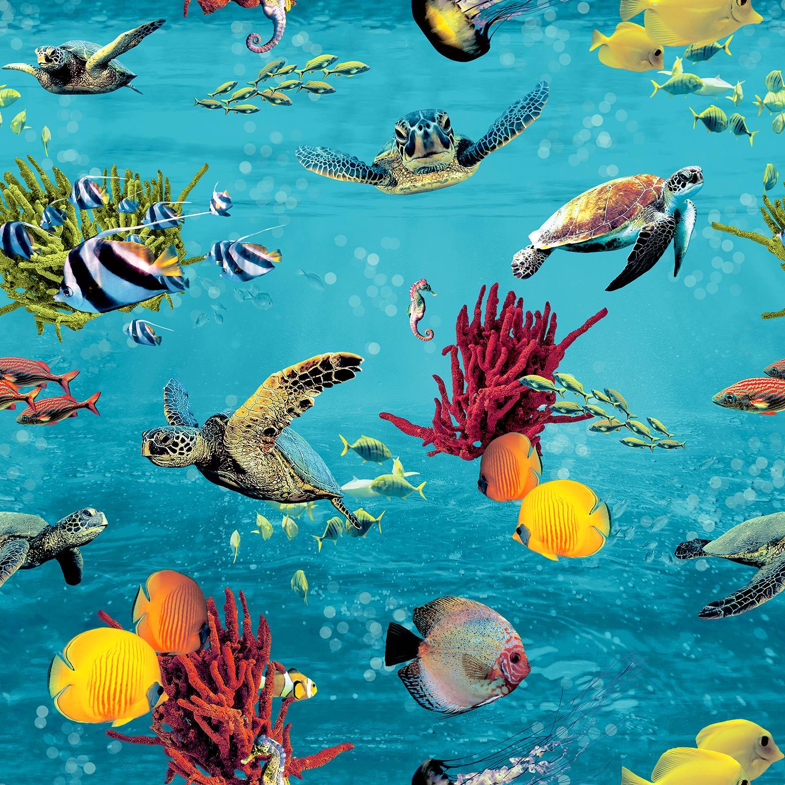 Ocean Sea Life Wallpaper Jelly Fish Turtle Sea Horse Blue Yellow Red Green Rasch 4000441310405 Ebay