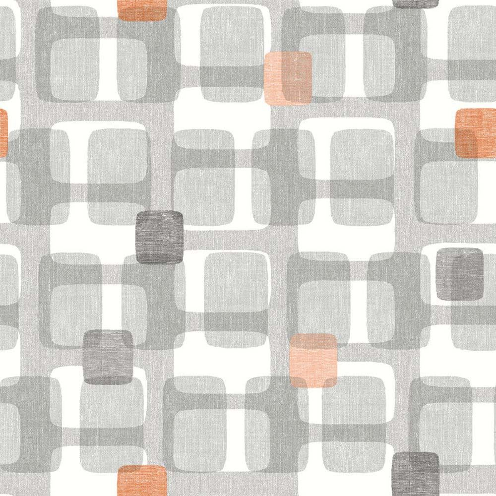 Teal Grey Yellow Orange Retro Block Pattern Wallpaper Arthouse