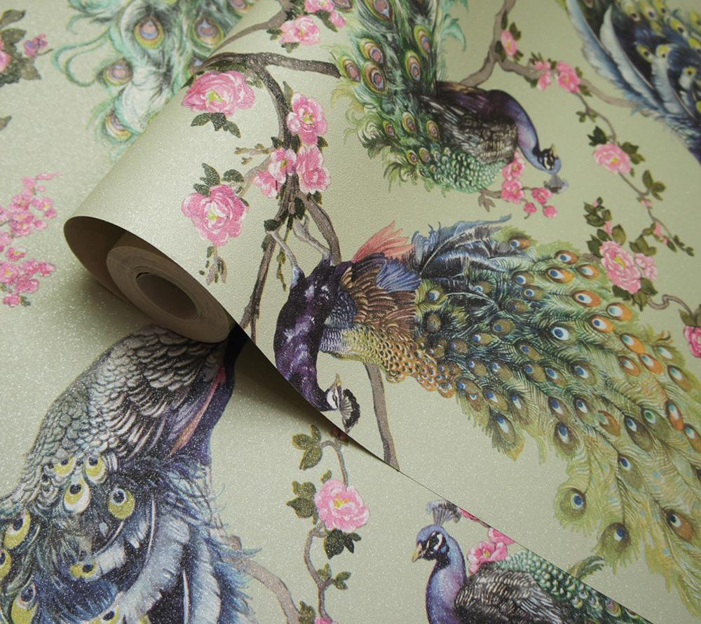 Peacock-Glitter-Wallpaper-Leaf-Floral-Vinyl-Animal-Print-Blue-Pink-Green-Grey thumbnail 3